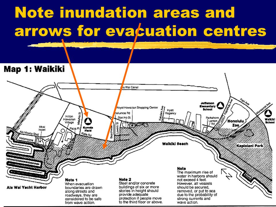 Note inundation areas and arrows for evacuation centres