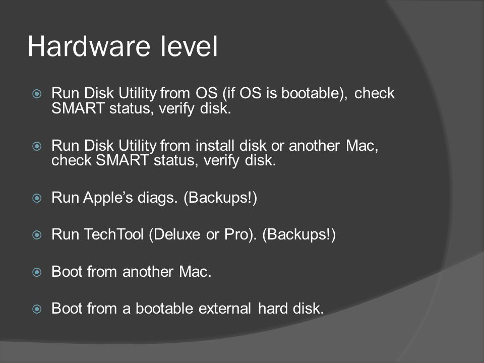 Hardware level  Run Disk Utility from OS (if OS is bootable), check SMART status, verify disk.