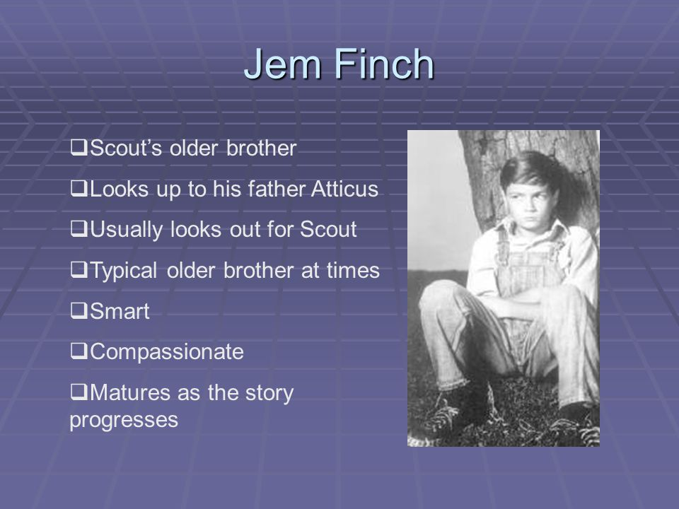 Jem Finch  Scout's older brother  Looks up to his father Atticus  Usually looks out for Scout  Typical older brother at times  Smart  Compassionate  Matures as the story progresses
