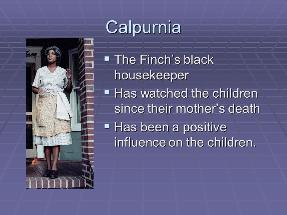 Calpurnia  The Finch's black housekeeper  Has watched the children since their mother's death  Has been a positive influence on the children.