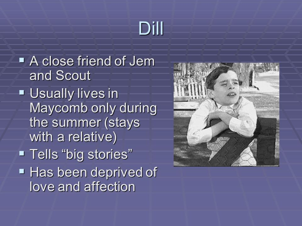 Dill  A close friend of Jem and Scout  Usually lives in Maycomb only during the summer (stays with a relative)  Tells big stories  Has been deprived of love and affection