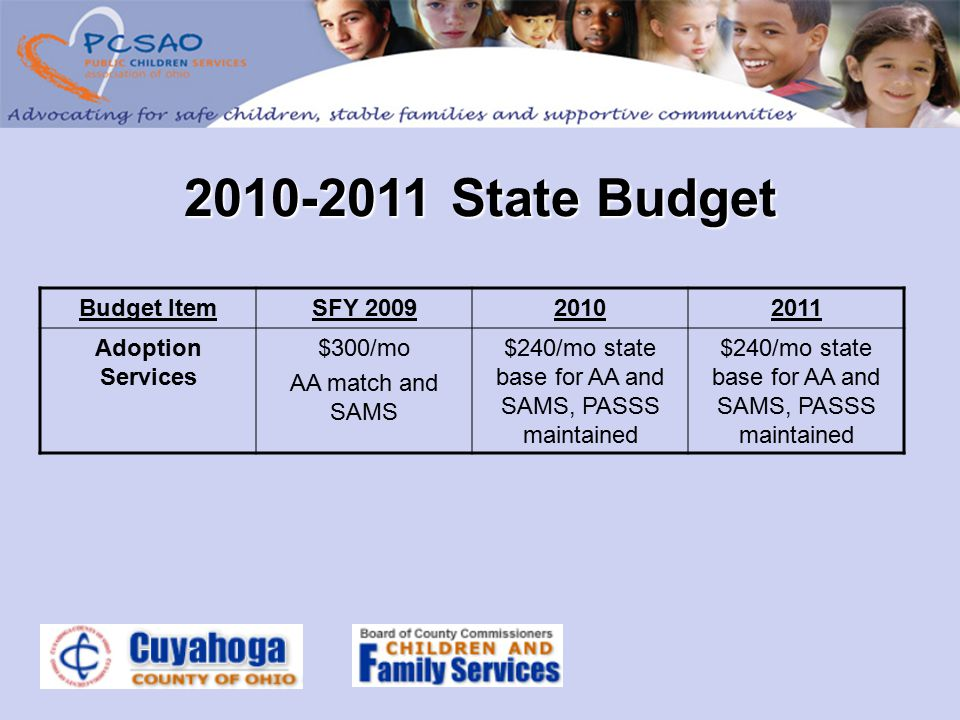2010-2011 State Budget Budget ItemSFY 200920102011 Adoption Services $300/mo AA match and SAMS $240/mo state base for AA and SAMS, PASSS maintained