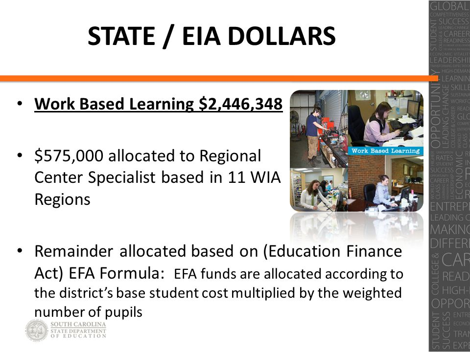 Click to edit Master title style Click to edit Master subtitle style STATE / EIA DOLLARS Work Based Learning $2,446,348 $575,000 allocated to Regional Center Specialist based in 11 WIA Regions Remainder allocated based on (Education Finance Act) EFA Formula: EFA funds are allocated according to the district's base student cost multiplied by the weighted number of pupils