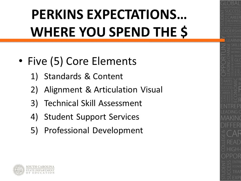 Click to edit Master title style Click to edit Master subtitle style PERKINS EXPECTATIONS… WHERE YOU SPEND THE $ Five (5) Core Elements 1)Standards & Content 2)Alignment & Articulation Visual 3)Technical Skill Assessment 4)Student Support Services 5)Professional Development