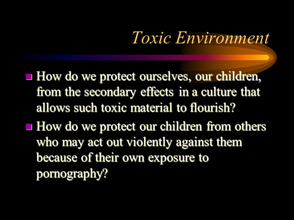Toxic Environment n How do we protect ourselves, our children, from the secondary effects in a culture that allows such toxic material to flourish.