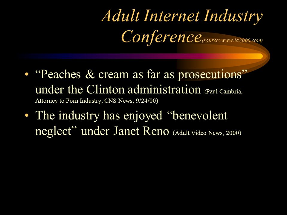 """Adult Internet Industry Conference (source: www.ia2000.com) """"Peaches & cream as far as prosecutions"""" under the Clinton administration ( Paul Cambria,"""