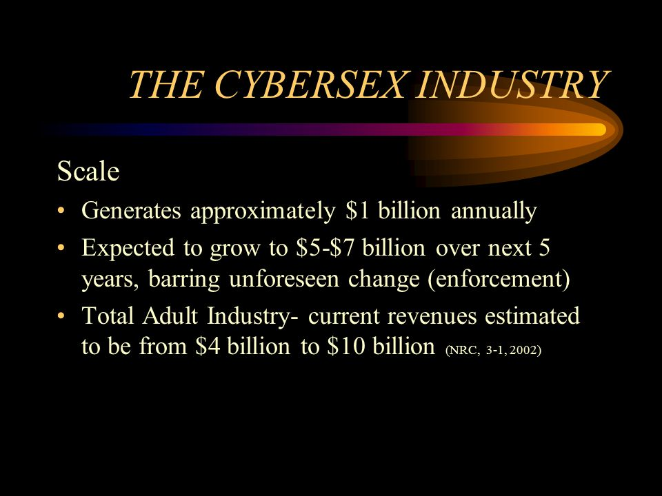 THE CYBERSEX INDUSTRY Scale Generates approximately $1 billion annually Expected to grow to $5-$7 billion over next 5 years, barring unforeseen change (enforcement) Total Adult Industry- current revenues estimated to be from $4 billion to $10 billion (NRC, 3-1, 2002)
