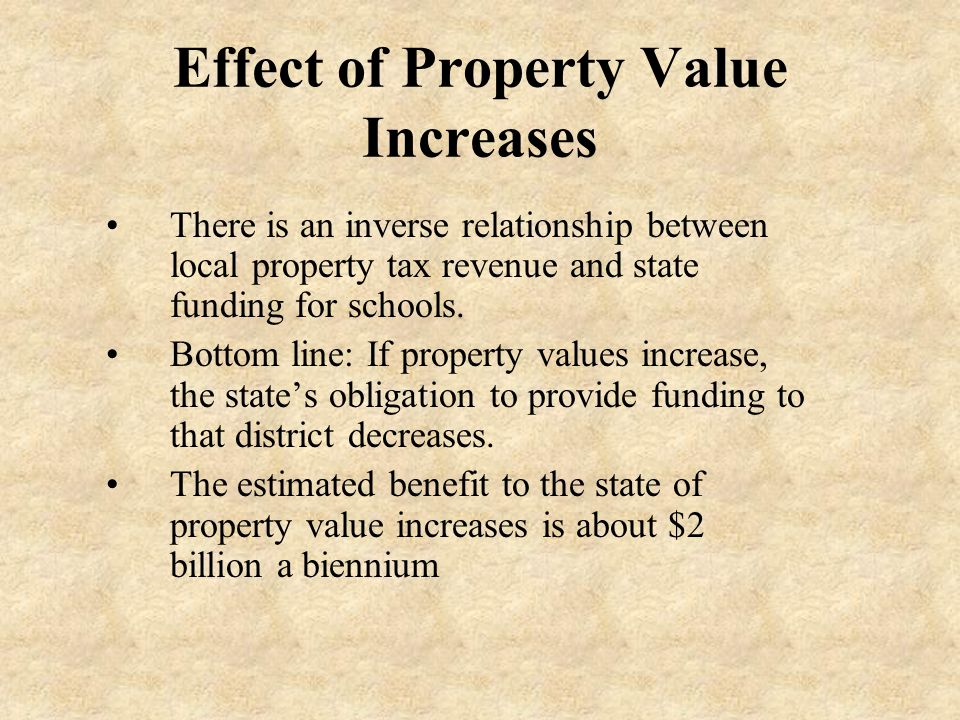 Effect of Property Value Increases There is an inverse relationship between local property tax revenue and state funding for schools.