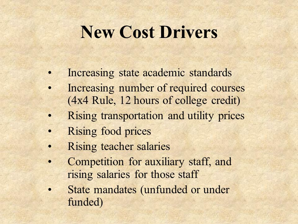 New Cost Drivers Increasing state academic standards Increasing number of required courses (4x4 Rule, 12 hours of college credit) Rising transportation and utility prices Rising food prices Rising teacher salaries Competition for auxiliary staff, and rising salaries for those staff State mandates (unfunded or under funded)