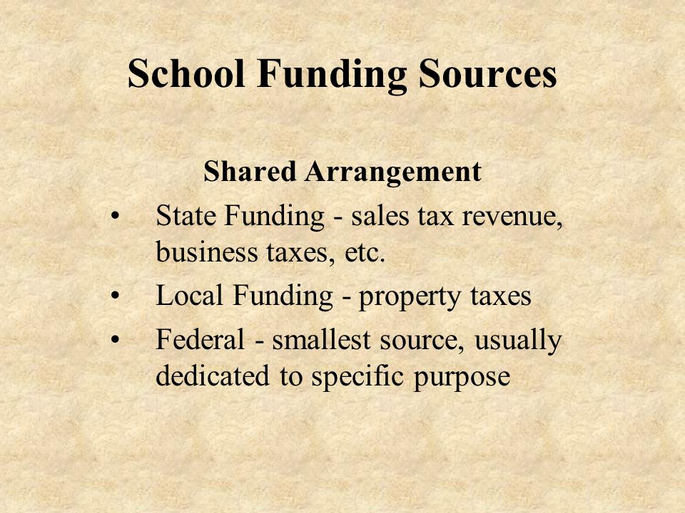 School Funding Sources Shared Arrangement State Funding - sales tax revenue, business taxes, etc.