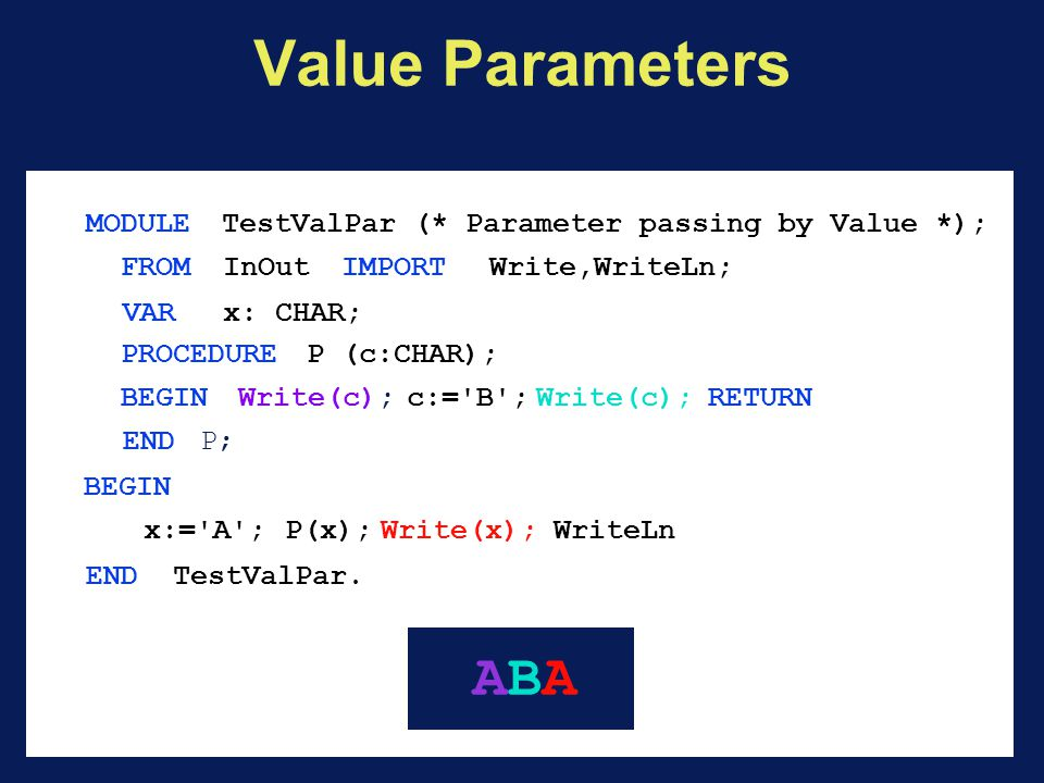Value Parameters MODULE TestValPar (* Parameter passing by Value *); FROM InOutIMPORT Write,WriteLn; VARx: CHAR; PROCEDURE P (c:CHAR); BEGINWrite(c);c:= B ;Write(c); RETURN END P; BEGIN x:= A ;P(x);Write(x);WriteLn END TestValPar.
