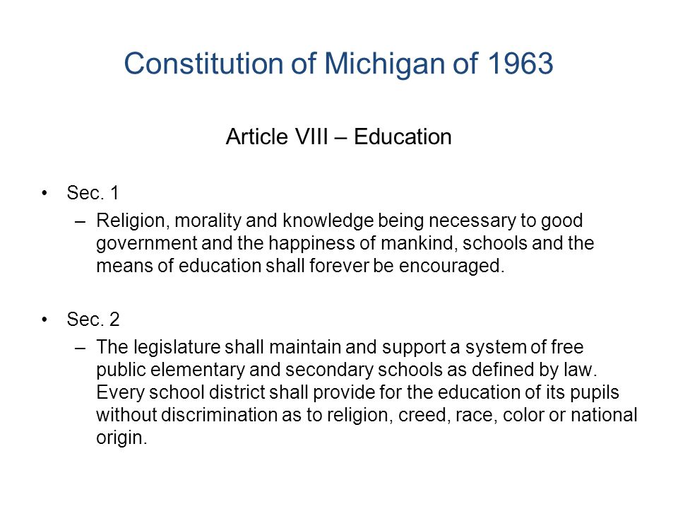 Michigan K-12 Finance, circa 1993, GTB Local Property Tax Covers 2/3 of Operating Revenues 122 Districts within 4 Mills of Constitutional Limit Rich Schools, Poor Schools Onaway with $3,277 PP @ 22.66 mills Ypsilanti with $5,919 PP @ 43.68 mills Bloomfield Hills w/ $10,358 @ 24.41 mills