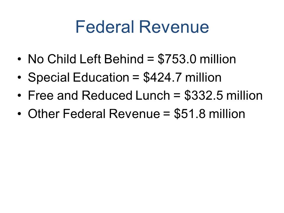 Federal Revenue No Child Left Behind = $753.0 million Special Education = $424.7 million Free and Reduced Lunch = $332.5 million Other Federal Revenue = $51.8 million