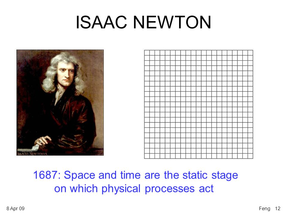 8 Apr 09 ISAAC NEWTON 1687: Space and time are the static stage on which physical processes act Feng 12