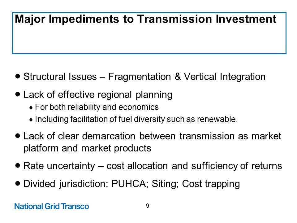 20 Improve the Grid How it all fits together ROE Adders; CWIP; Accelerated Depreciation ROE Adders; Tax Incentives and Hold Harmless PBRs Business Structure Self-sustaining incentives General policy ensuring that transmission is a viable business