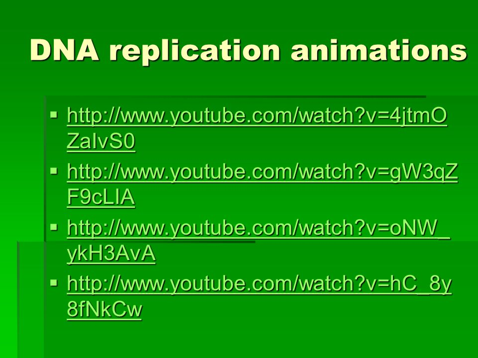 DNA replication animations  http://www.youtube.com/watch v=4jtmO ZaIvS0 http://www.youtube.com/watch v=4jtmO ZaIvS0 http://www.youtube.com/watch v=4jtmO ZaIvS0  http://www.youtube.com/watch v=gW3qZ F9cLIA http://www.youtube.com/watch v=gW3qZ F9cLIA http://www.youtube.com/watch v=gW3qZ F9cLIA  http://www.youtube.com/watch v=oNW_ ykH3AvA http://www.youtube.com/watch v=oNW_ ykH3AvA http://www.youtube.com/watch v=oNW_ ykH3AvA  http://www.youtube.com/watch v=hC_8y 8fNkCw http://www.youtube.com/watch v=hC_8y 8fNkCw http://www.youtube.com/watch v=hC_8y 8fNkCw