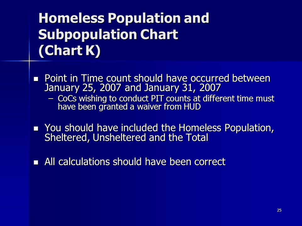 25 Homeless Population and Subpopulation Chart (Chart K) Point in Time count should have occurred between January 25, 2007 and January 31, 2007 Point in Time count should have occurred between January 25, 2007 and January 31, 2007 –CoCs wishing to conduct PIT counts at different time must have been granted a waiver from HUD You should have included the Homeless Population, Sheltered, Unsheltered and the Total You should have included the Homeless Population, Sheltered, Unsheltered and the Total All calculations should have been correct All calculations should have been correct