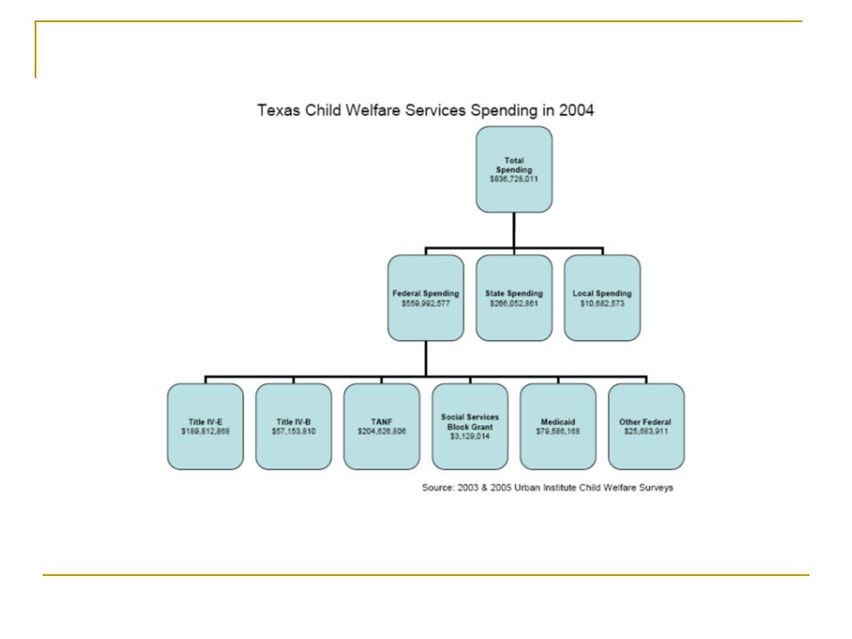 Texas Reorganized and consolidated a number of human services Using private contracts and new public programs to address CFSR Basic CWS budget formation similar to California Sixth highest child poverty rate in the US (23%)