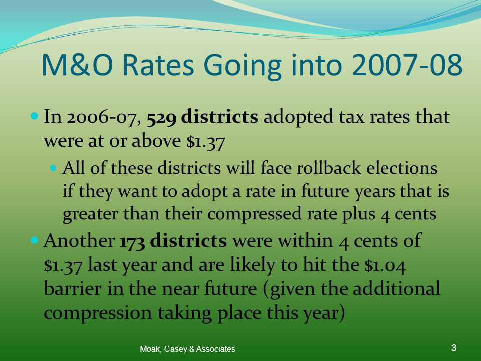 M&O Rates Going into 2007-08 In 2006-07, 529 districts adopted tax rates that were at or above $1.37 All of these districts will face rollback elections if they want to adopt a rate in future years that is greater than their compressed rate plus 4 cents Another 173 districts were within 4 cents of $1.37 last year and are likely to hit the $1.04 barrier in the near future (given the additional compression taking place this year) Moak, Casey & Associates 3