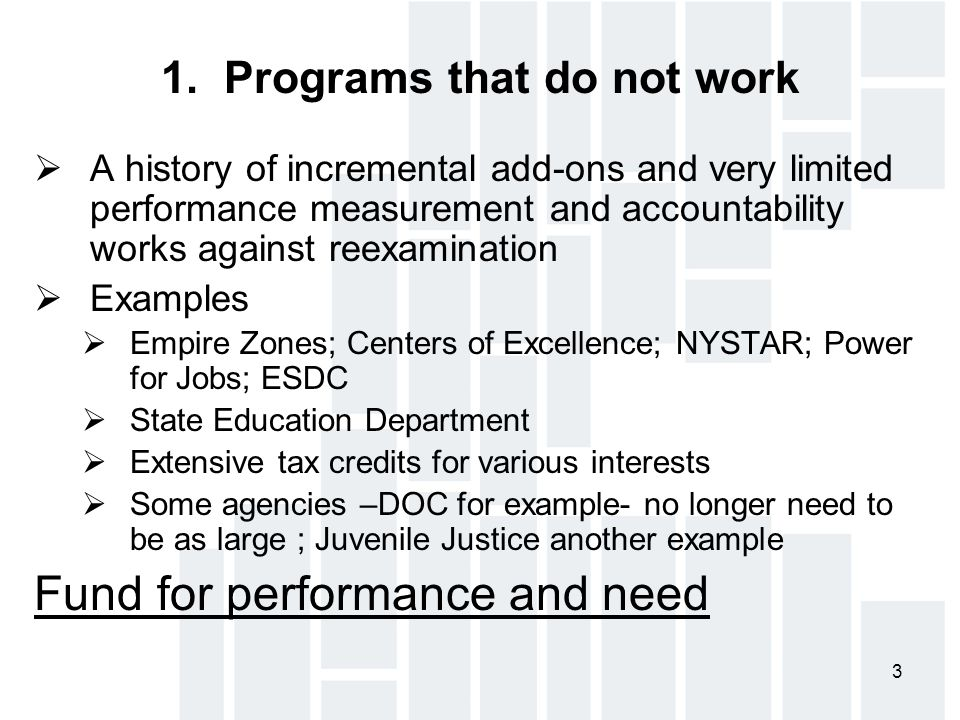 3 1. Programs that do not work  A history of incremental add-ons and very limited performance measurement and accountability works against reexaminat