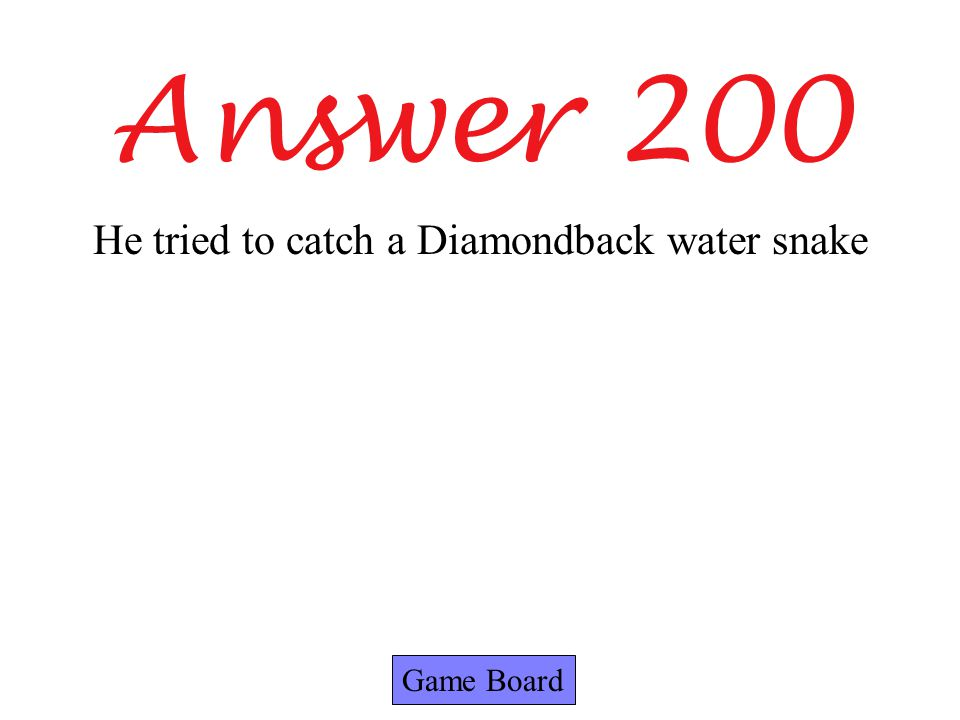 Answer 200 Game Board He tried to catch a Diamondback water snake
