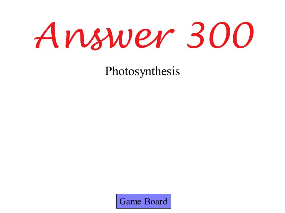 Answer 300 Game Board Photosynthesis