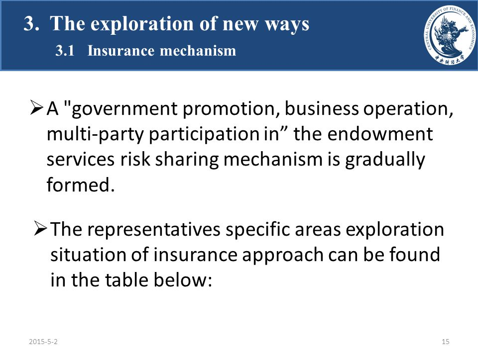  A government promotion, business operation, multi-party participation in the endowment services risk sharing mechanism is gradually formed.