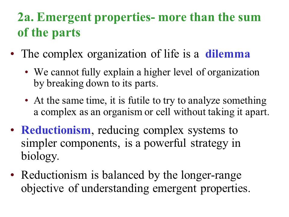 2a. Emergent properties- more than the sum of the parts The complex organization of life is a dilemma We cannot fully explain a higher level of organi