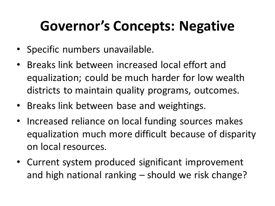 Governor's Concepts: Negative Specific numbers unavailable.