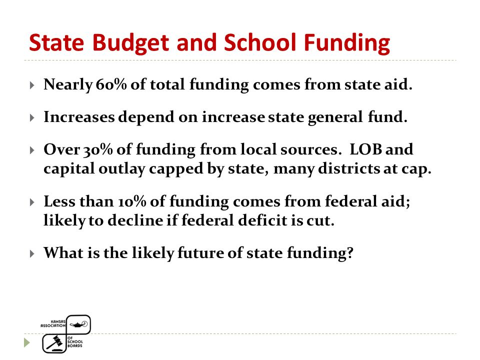 State Budget and School Funding  Nearly 60% of total funding comes from state aid.