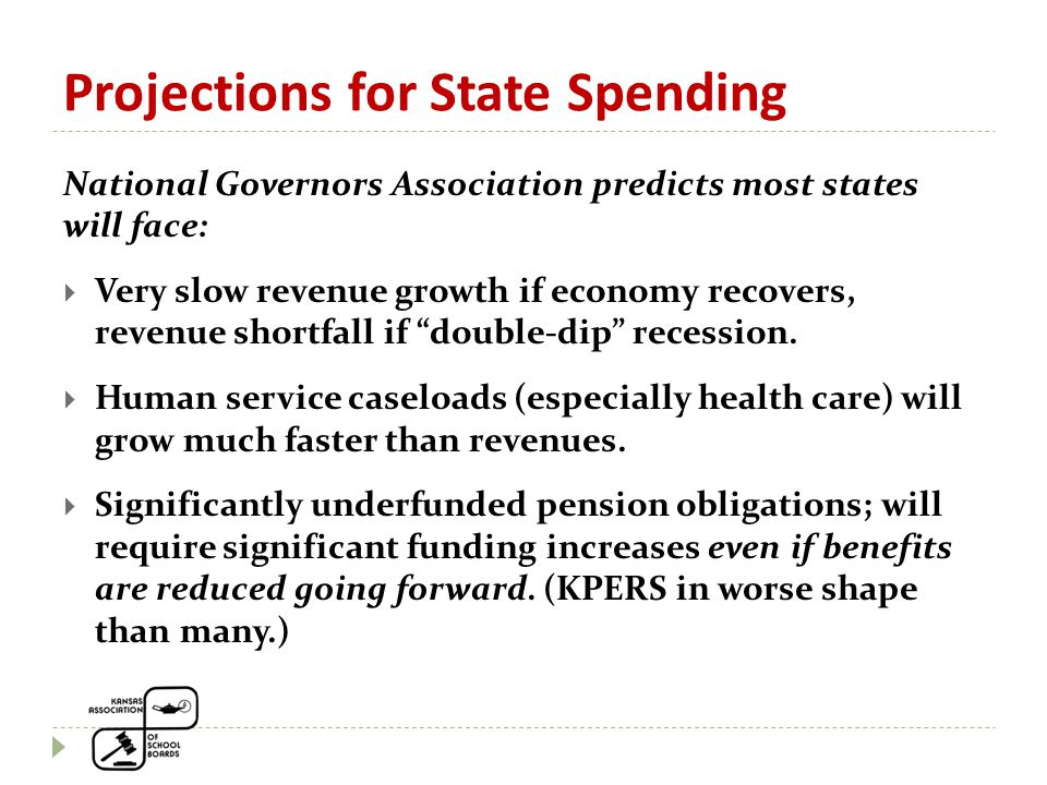 Projections for State Spending National Governors Association predicts most states will face:  Very slow revenue growth if economy recovers, revenue shortfall if double-dip recession.