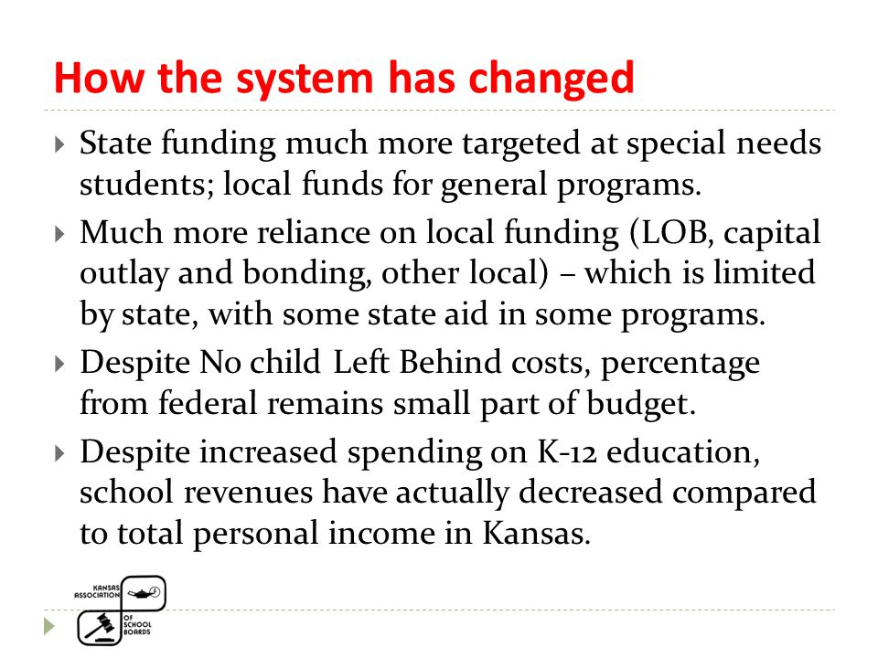 How the system has changed  State funding much more targeted at special needs students; local funds for general programs.