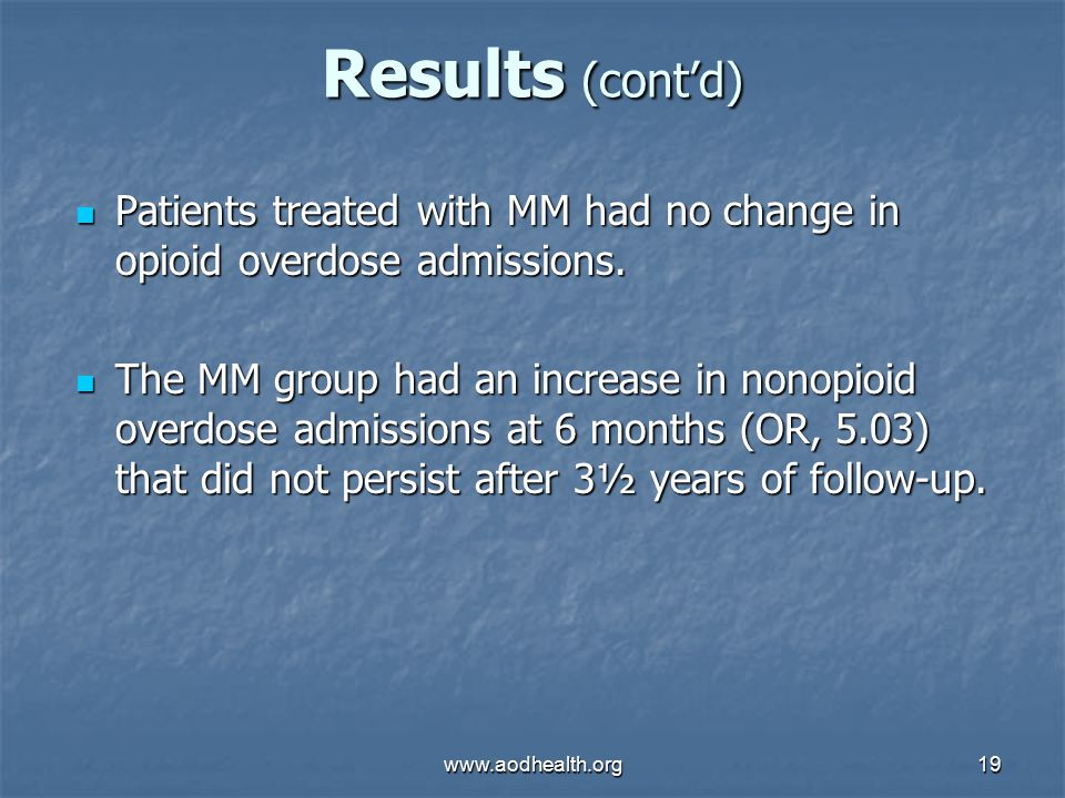 www.aodhealth.org19 Results (cont'd) Patients treated with MM had no change in opioid overdose admissions.