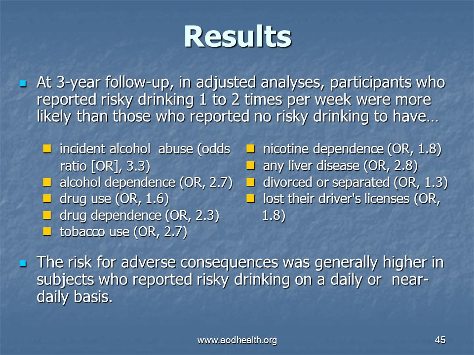 www.aodhealth.org45 Results At 3-year follow-up, in adjusted analyses, participants who reported risky drinking 1 to 2 times per week were more likely than those who reported no risky drinking to have… At 3-year follow-up, in adjusted analyses, participants who reported risky drinking 1 to 2 times per week were more likely than those who reported no risky drinking to have… The risk for adverse consequences was generally higher in subjects who reported risky drinking on a daily or near- daily basis.