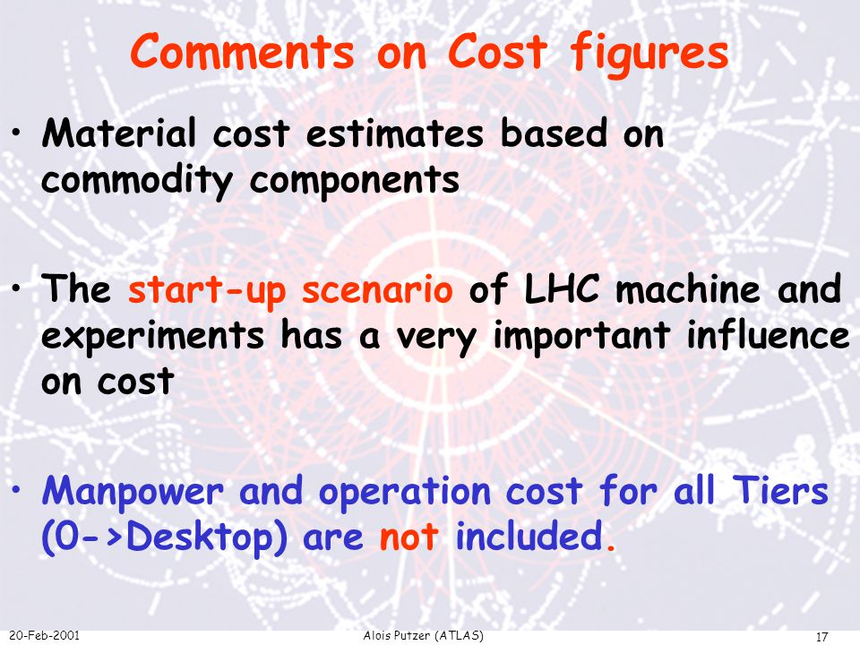 20-Feb-2001Alois Putzer (ATLAS) 17 Comments on Cost figures Material cost estimates based on commodity components The start-up scenario of LHC machine and experiments has a very important influence on cost Manpower and operation cost for all Tiers (0->Desktop) are not included.