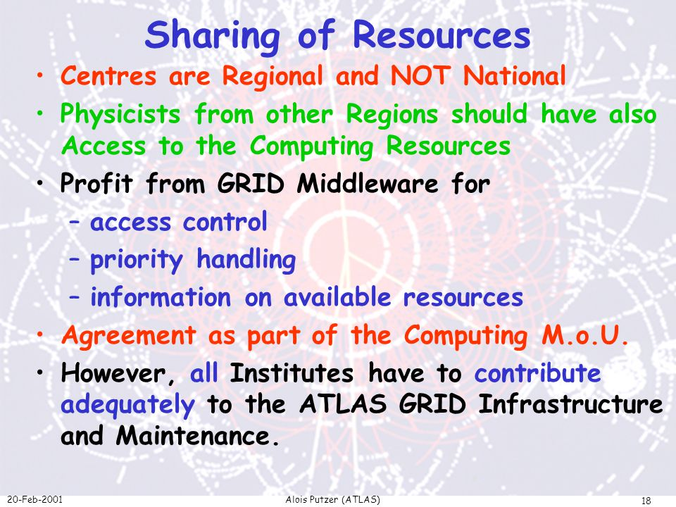 20-Feb-2001Alois Putzer (ATLAS) 18 Sharing of Resources Centres are Regional and NOT National Physicists from other Regions should have also Access to the Computing Resources Profit from GRID Middleware for –access control –priority handling –information on available resources Agreement as part of the Computing M.o.U.
