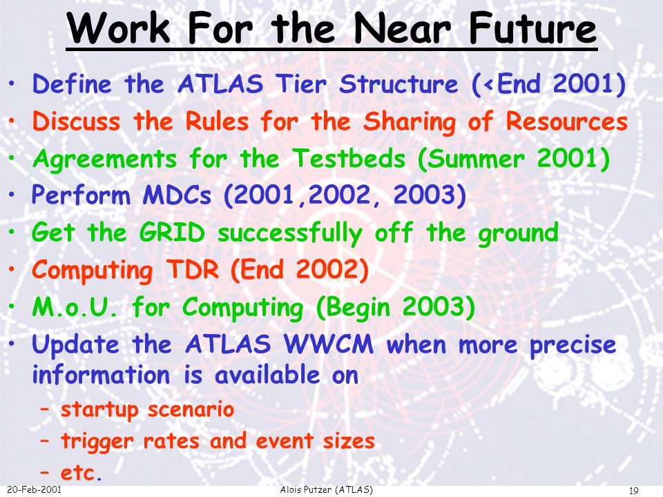 20-Feb-2001Alois Putzer (ATLAS) 19 Work For the Near Future Define the ATLAS Tier Structure (<End 2001) Discuss the Rules for the Sharing of Resources Agreements for the Testbeds (Summer 2001) Perform MDCs (2001,2002, 2003) Get the GRID successfully off the ground Computing TDR (End 2002) M.o.U.