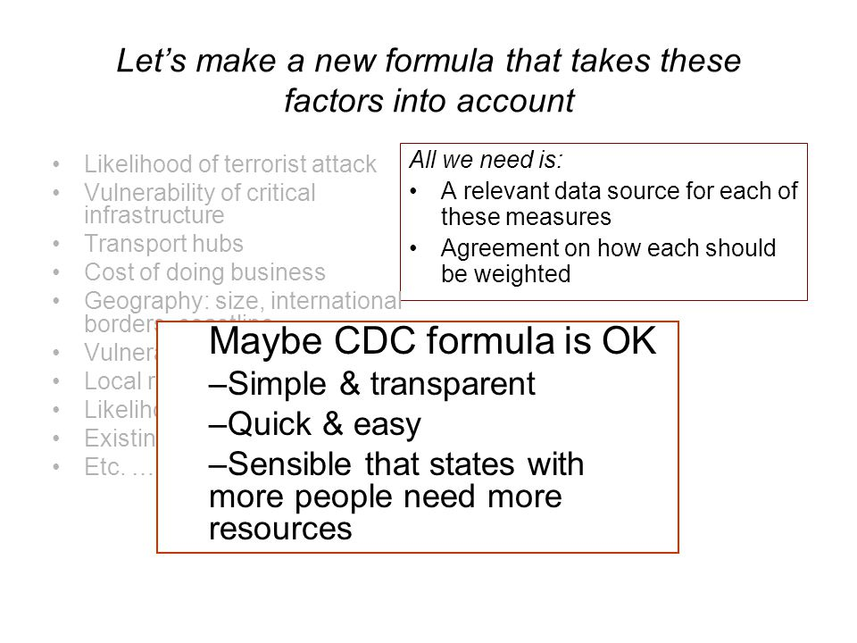Let's make a new formula that takes these factors into account All we need is: A relevant data source for each of these measures Agreement on how each should be weighted Likelihood of terrorist attack Vulnerability of critical infrastructure Transport hubs Cost of doing business Geography: size, international borders, coastline Vulnerable populations Local resources Likelihood of natural disaster Existing capacity Etc.