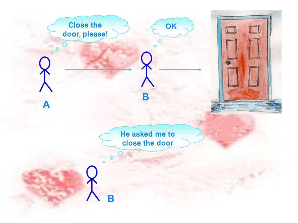 Close the door, please! He asked me to close the door A B OK B