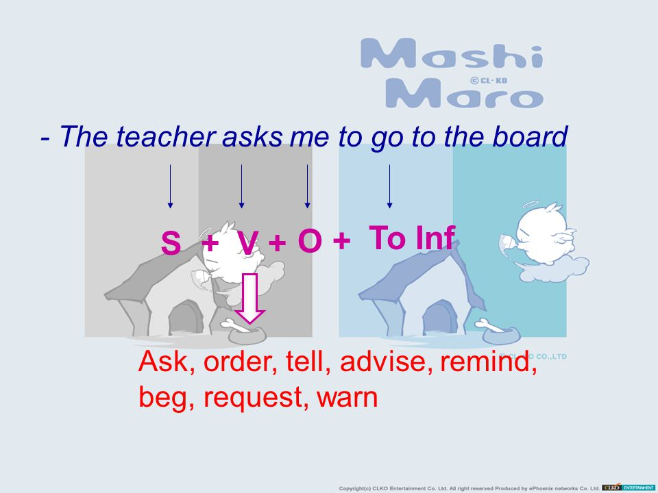 - The teacher asks me to go to the board S +V + O + To Inf Ask, order, tell, advise, remind, beg, request, warn