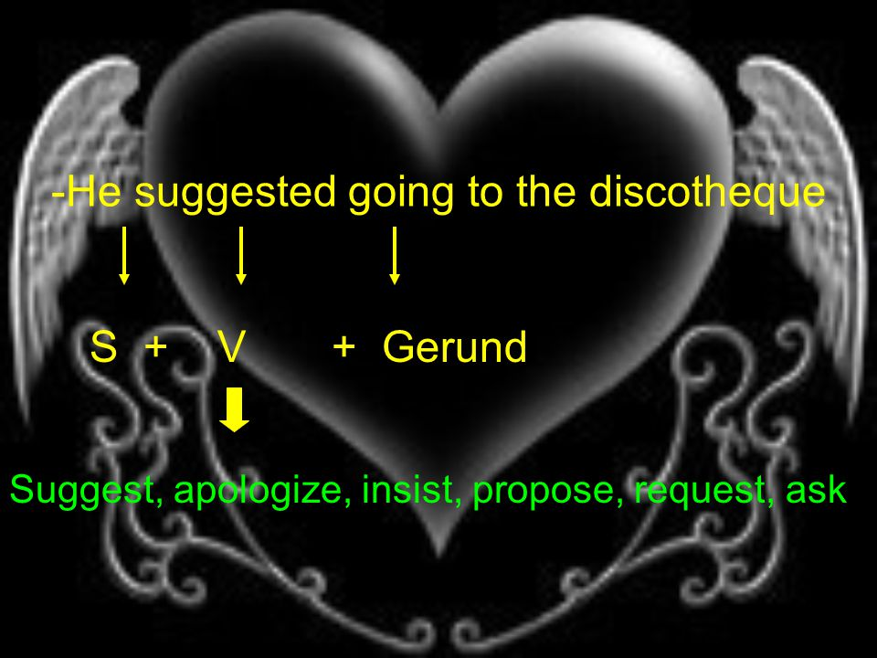 -He suggested going to the discotheque S + V + Gerund Suggest, apologize, insist, propose, request, ask