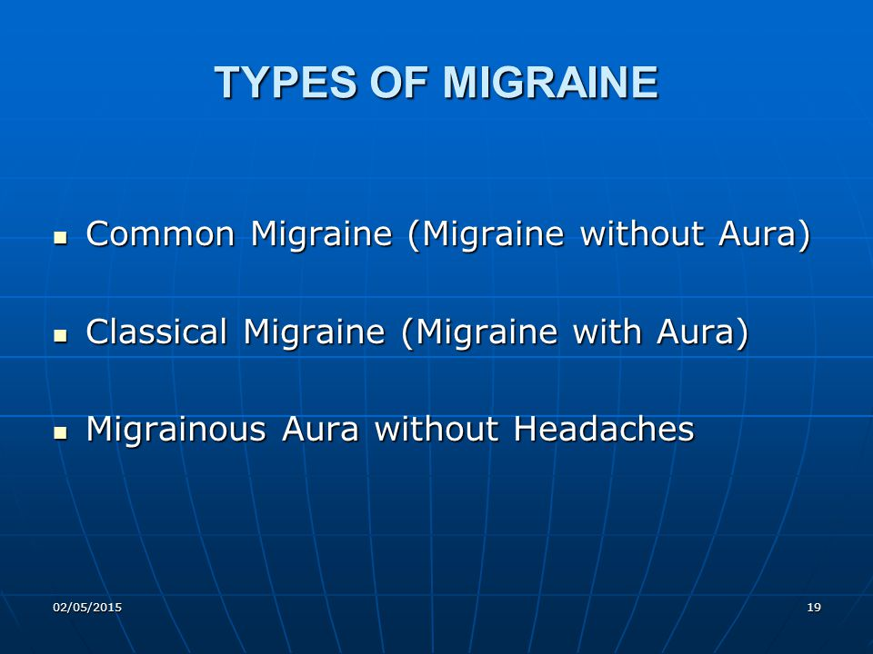 02/05/201519 TYPES OF MIGRAINE Common Migraine (Migraine without Aura) Common Migraine (Migraine without Aura) Classical Migraine (Migraine with Aura)