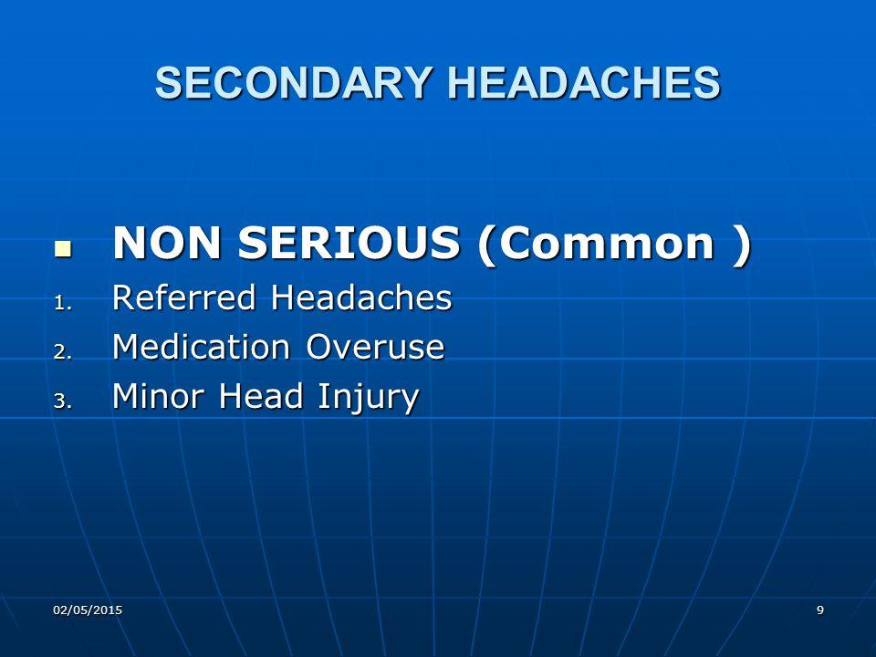 02/05/201510 Causes of Referred Headaches Eyes – Errors of Refraction Eyes – Errors of Refraction ENT – Sinuses ENT – Sinuses Teeth – Peridontal Disease Teeth – Peridontal Disease Jaw – Temporomandibular dysfunction Jaw – Temporomandibular dysfunction Neck – Degenerative Spinal Disease Neck – Degenerative Spinal Disease