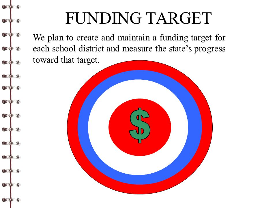 FUNDING TARGET We plan to create and maintain a funding target for each school district and measure the state's progress toward that target.