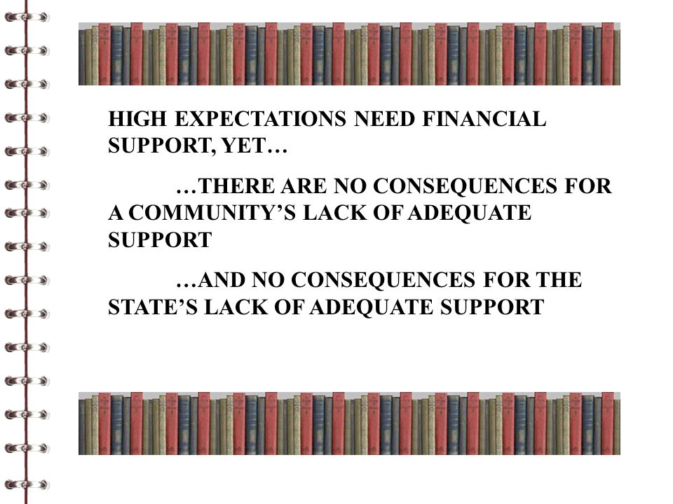 HIGH EXPECTATIONS NEED FINANCIAL SUPPORT, YET… …THERE ARE NO CONSEQUENCES FOR A COMMUNITY'S LACK OF ADEQUATE SUPPORT …AND NO CONSEQUENCES FOR THE STATE'S LACK OF ADEQUATE SUPPORT