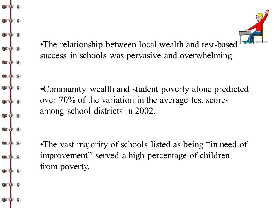 The relationship between local wealth and test-based success in schools was pervasive and overwhelming. Community wealth and student poverty alone pre
