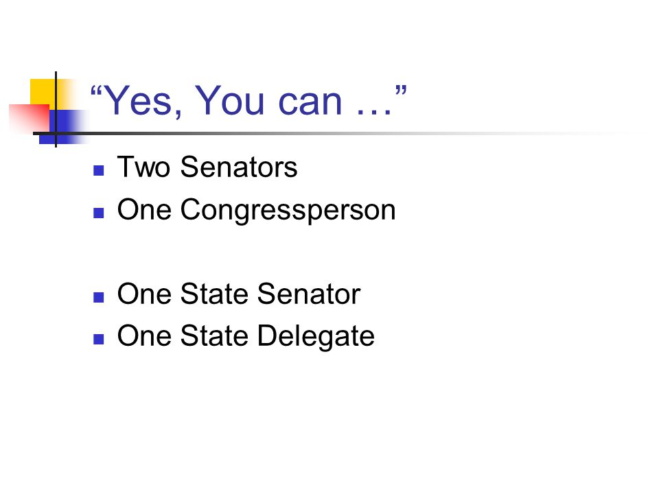 """Yes, You can …"" Two Senators One Congressperson One State Senator One State Delegate"
