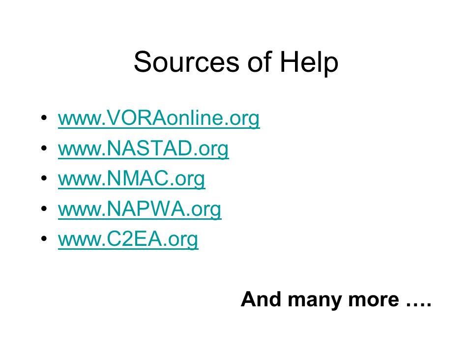 Sources of Help www.VORAonline.org www.NASTAD.org www.NMAC.org www.NAPWA.org www.C2EA.org And many more ….