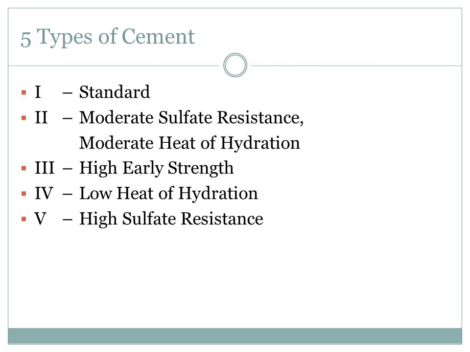 5 Types of Cement  I – Standard  II – Moderate Sulfate Resistance, Moderate Heat of Hydration  III – High Early Strength  IV – Low Heat of Hydration  V – High Sulfate Resistance