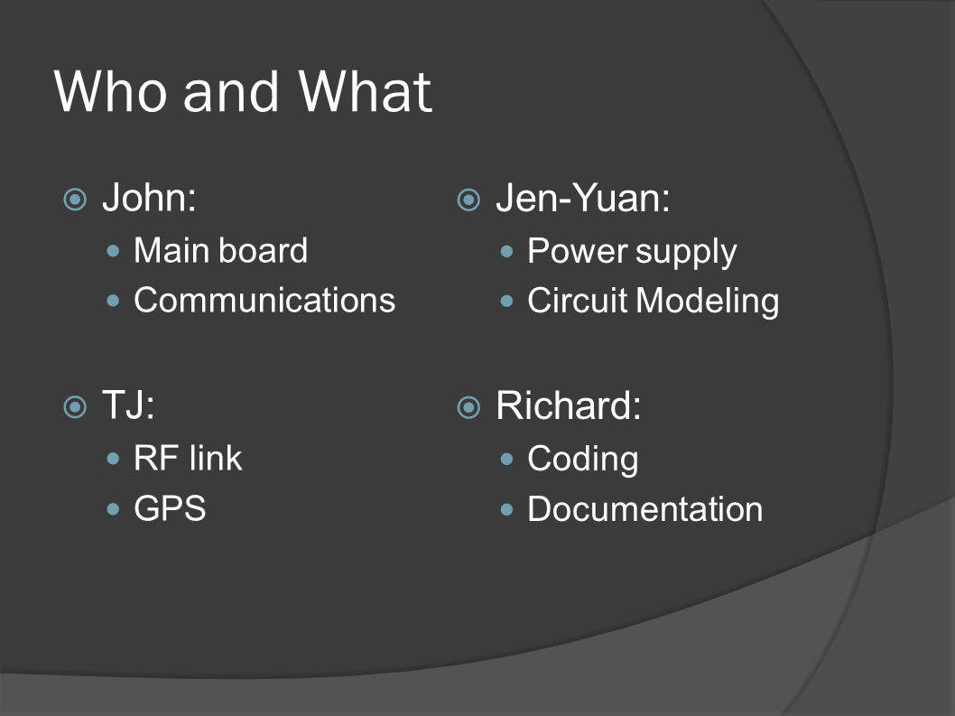 Who and What  John: Main board Communications  TJ: RF link GPS  Jen-Yuan: Power supply Circuit Modeling  Richard: Coding Documentation
